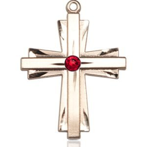 Cross Medal - July Birthstone - 14 KT Gold #88345