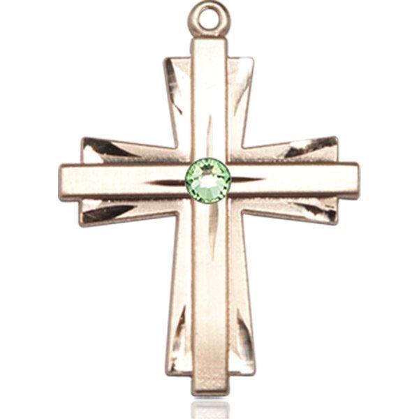 Cross Medal - August Birthstone - 14 KT Gold #88346