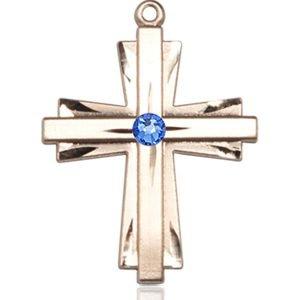 Cross Medal - September Birthstone - 14 KT Gold #88347