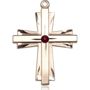 Cross Medal - January Birthstone - 14 KT Gold #88372