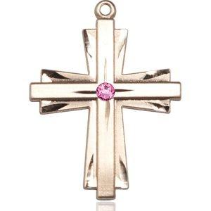 Cross Medal - October Birthstone - 14 KT Gold #88373