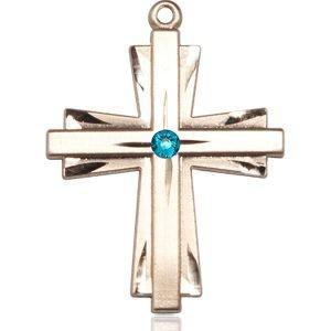 Cross Medal - December Birthstone - 14 KT Gold #88375