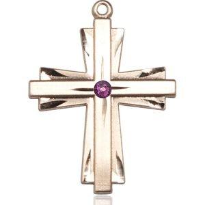 Cross Medal - February Birthstone - 14 KT Gold #88376