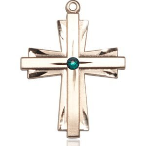 Cross Medal - May Birthstone - 14 KT Gold #88379
