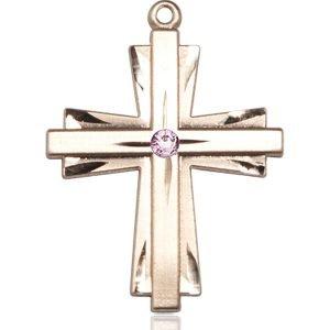 Cross Medal - June Birthstone - 14 KT Gold #88380