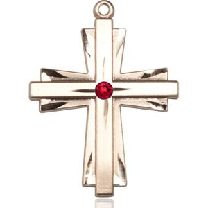 Cross Medal - July Birthstone - 14 KT Gold #88381