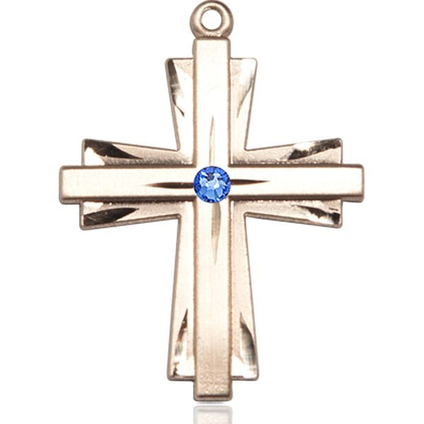 Cross Medal - September Birthstone - 14 KT Gold #88383