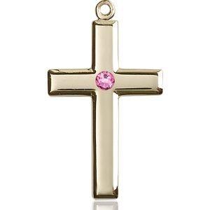 Cross Medal - October Birthstone - 14 KT Gold #88457