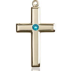 Cross Medal - December Birthstone - 14 KT Gold #88459
