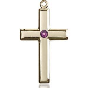 Cross Medal - February Birthstone - 14 KT Gold #88460