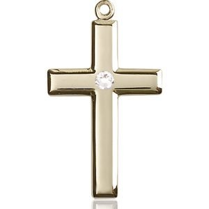 Cross Medal - April Birthstone - 14 KT Gold #88462