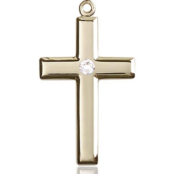 Cross Medal - April Birthstone - 14 KT Gold #88462