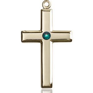 Cross Medal - May Birthstone - 14 KT Gold #88463