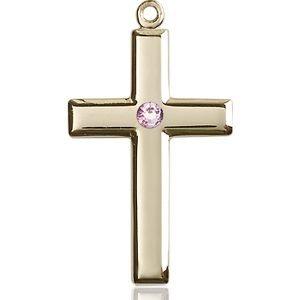 Cross Medal - June Birthstone - 14 KT Gold #88464