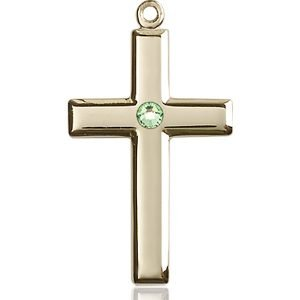 Cross Medal - August Birthstone - 14 KT Gold #88466
