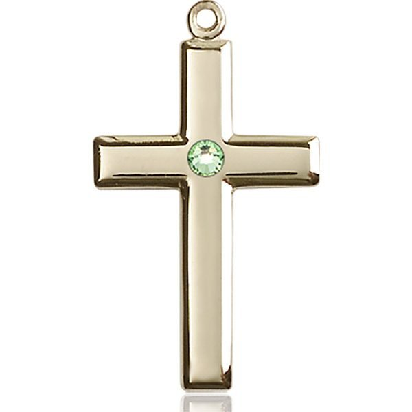 Cross Medal - August Birthstone - 14 KT Gold #88466