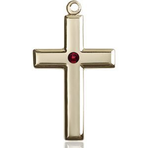 Cross Medal - January Birthstone - 14 KT Gold #88492