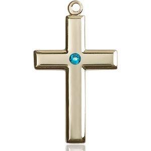 Cross Medal - December Birthstone - 14 KT Gold #88495