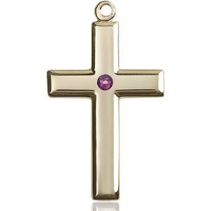 Cross Medal - February Birthstone - 14 KT Gold #88496