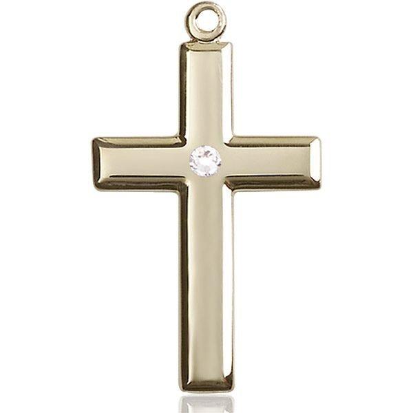 Cross Medal - April Birthstone - 14 KT Gold #88498