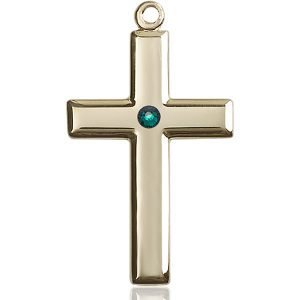 Cross Medal - May Birthstone - 14 KT Gold #88499