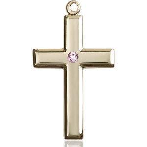 Cross Medal - June Birthstone - 14 KT Gold #88500