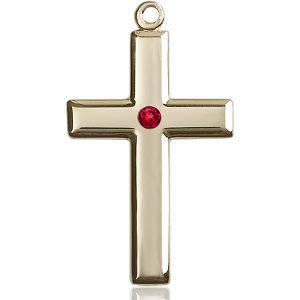 Cross Medal - July Birthstone - 14 KT Gold #88501