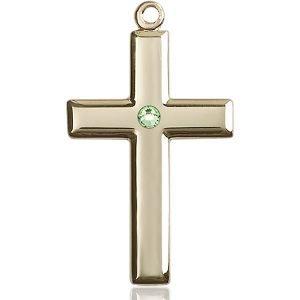 Cross Medal - August Birthstone - 14 KT Gold #88502