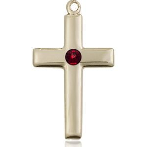 Cross Medal - January Birthstone - 14 KT Gold #88528
