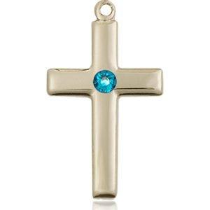 Cross Medal - December Birthstone - 14 KT Gold #88531