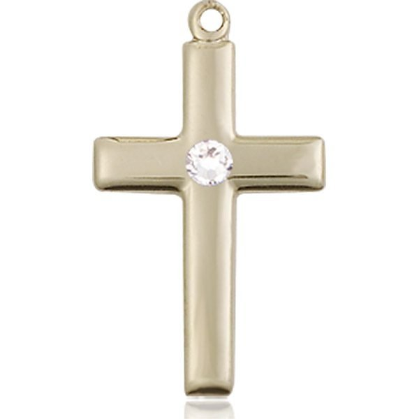 Cross Medal - April Birthstone - 14 KT Gold #88534