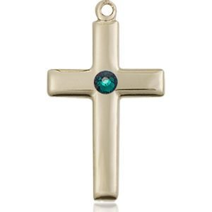 Cross Medal - May Birthstone - 14 KT Gold #88535
