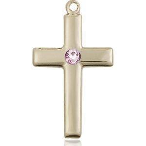 Cross Medal - June Birthstone - 14 KT Gold #88536