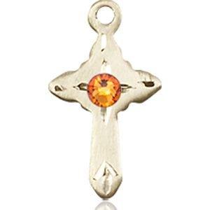 Cross Medal - November Birthstone - 14 KT Gold #88566
