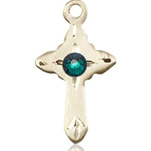 Cross Medal - May Birthstone - 14 KT Gold #88571