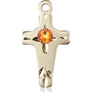 Cross Medal - November Birthstone - 14 KT Gold #88602