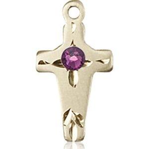 Cross Medal - February Birthstone - 14 KT Gold #88604
