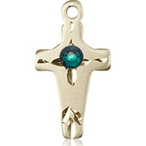 Cross Medal - May Birthstone - 14 KT Gold #88607