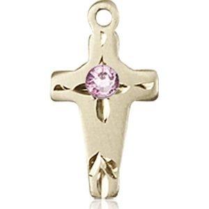 Cross Medal - June Birthstone - 14 KT Gold #88608