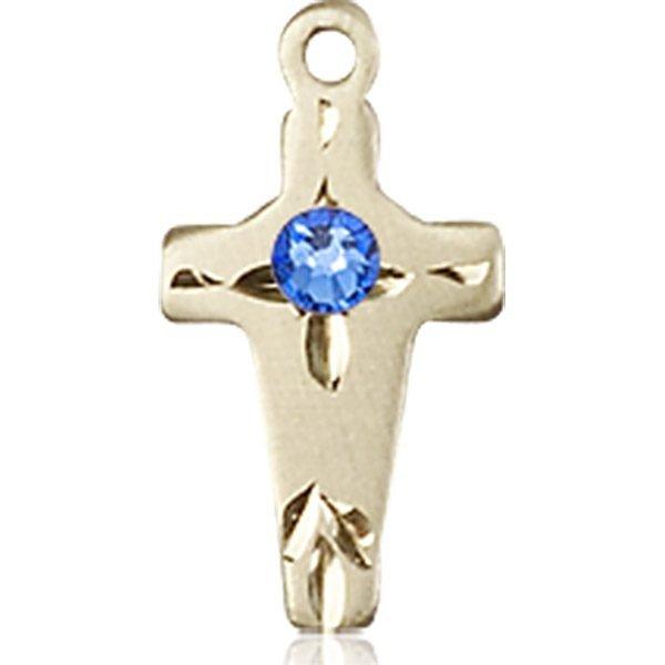 Cross Medal - September Birthstone - 14 KT Gold #88611