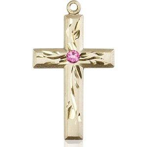 Cross Medal - October Birthstone - 14 KT Gold #88988