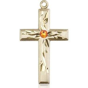 Cross Medal - November Birthstone - 14 KT Gold #88989