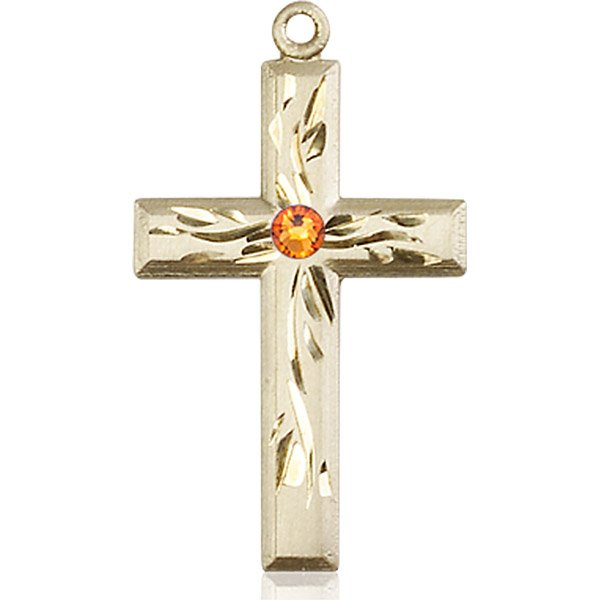 14kt Gold Cross Medal with 3mm Topaz bead.