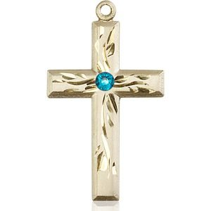Cross Medal - December Birthstone - 14 KT Gold #88990