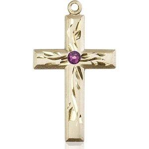 Cross Medal - February Birthstone - 14 KT Gold #88991