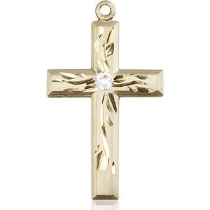 Cross Medal - April Birthstone - 14 KT Gold #88993