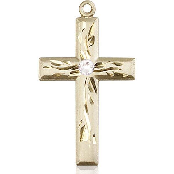 Cross Medal - April Birthstone - 14 KT Gold #88993