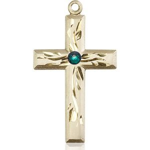 Cross Medal - May Birthstone - 14 KT Gold #88994