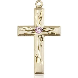 Cross Medal - June Birthstone - 14 KT Gold #88995