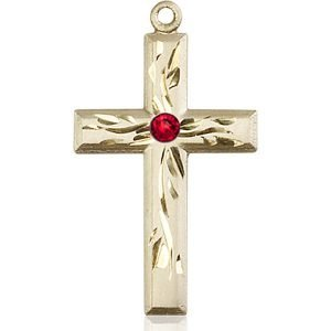 Cross Medal - July Birthstone - 14 KT Gold #88996